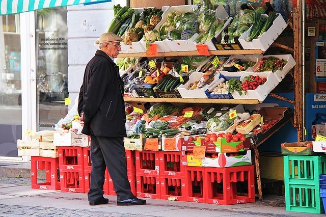 Essen und Trinken vom Markt