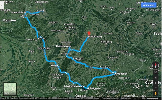 reiseroute google maps